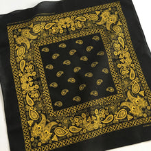 Load image into Gallery viewer, Black & Yellow Floral Paisley Bandana
