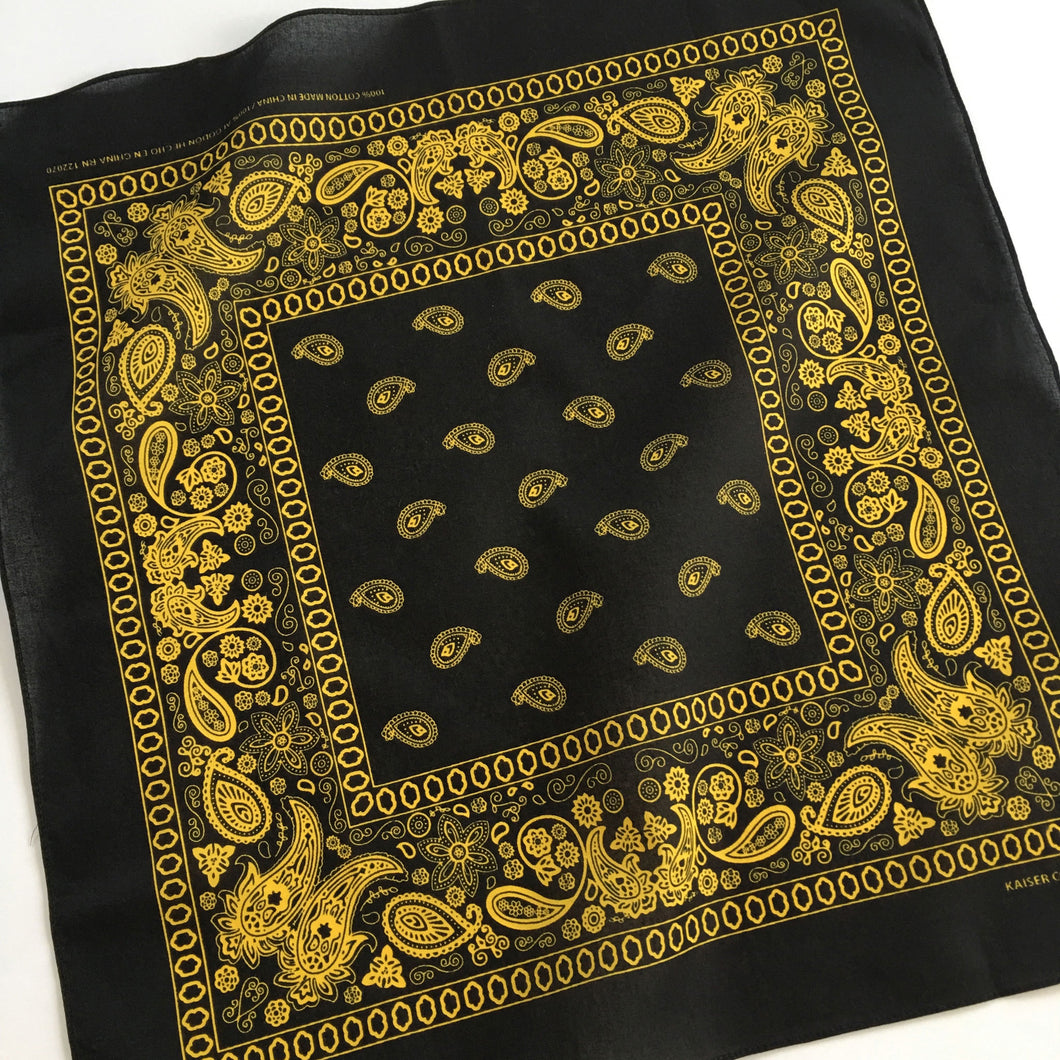 Black & Yellow Floral Paisley Bandana