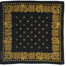 Load image into Gallery viewer, Black & Yellow Square Border Bandana