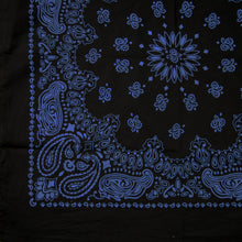 Load image into Gallery viewer, Black and blue paisley bandana quarter view