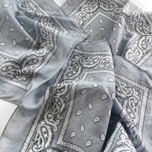 Load image into Gallery viewer, Vintage Wash Gray Paisley Bandana