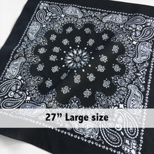Load image into Gallery viewer, Large Black & White Cowboy Bandana