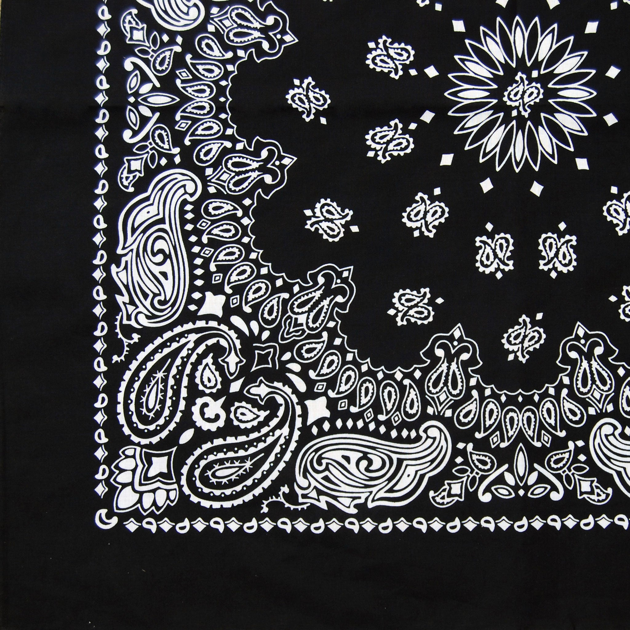Load image into gallery viewer large black white cowboy bandana