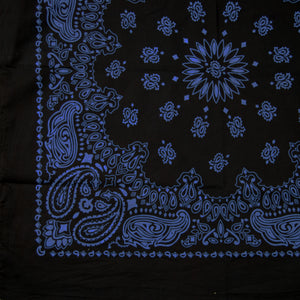 large black and blue bandana 1/4 print pattern view