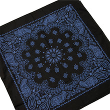 Load image into Gallery viewer, large black and blue bandana paisley print cowboy style whole bandana view
