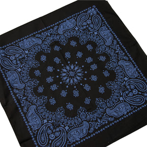 large black and blue bandana paisley print cowboy style whole bandana view