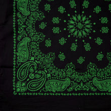 Load image into Gallery viewer, large size black and green cowboy bandanna partial view