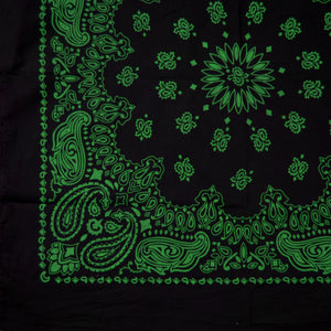 large size black and green cowboy bandanna partial view