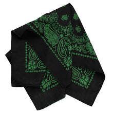 Load image into Gallery viewer, large black and green bandana with trainmen print folded view