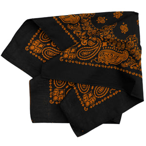 black and orange cowboy bandana, large size, folded view