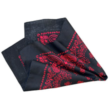 Load image into Gallery viewer, black bandana with red print on both sides, folded