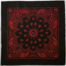 Load image into Gallery viewer, Large Black & Red Cowboy Bandana