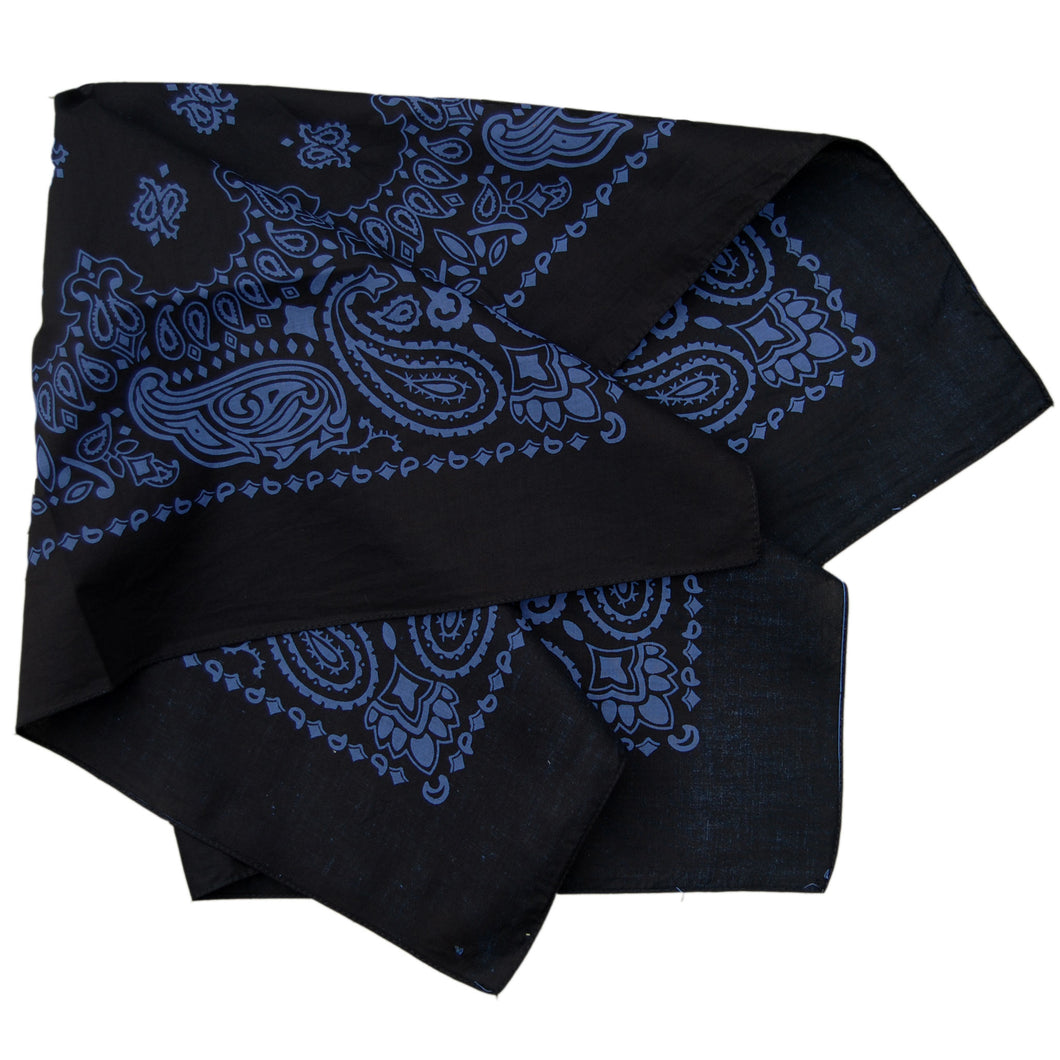 black and blue large size bandana folded