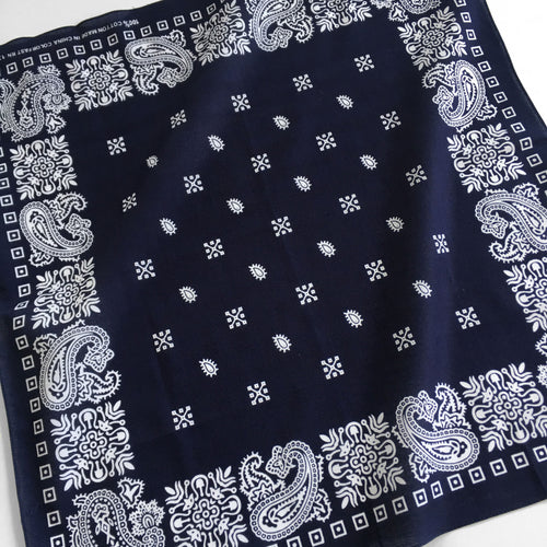 Navy & White Square Border Bandana