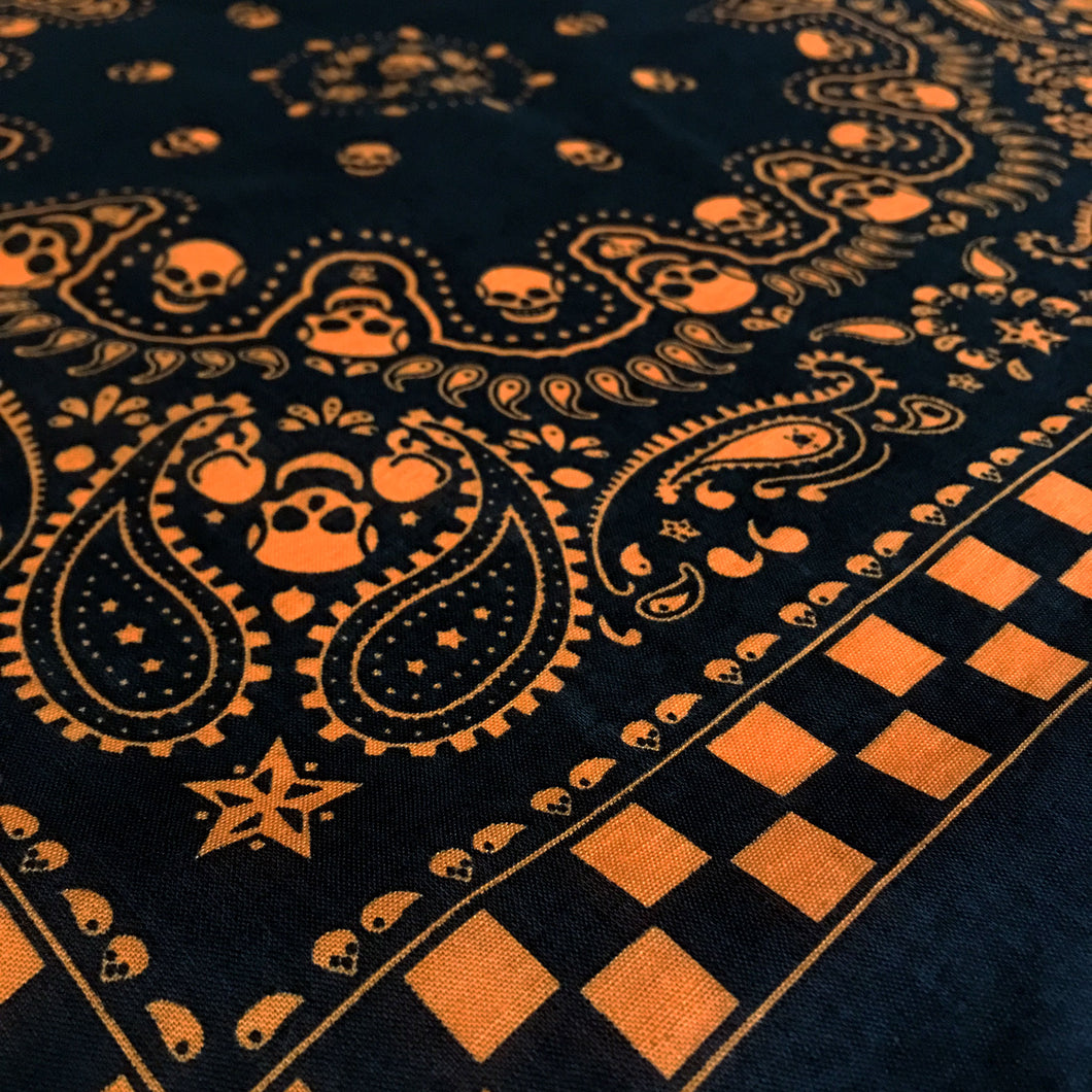 Black & Orange Skull Paisley Bandana