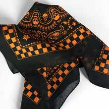 Load image into Gallery viewer, Black & Orange Skull Paisley Bandana