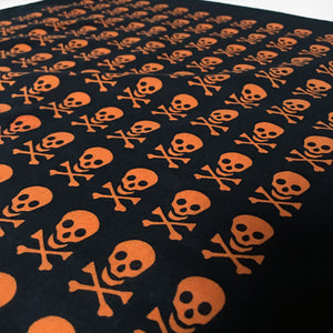 Skull & Crossbones Bandana with Orange Allover Print