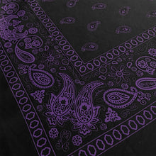 Load image into Gallery viewer, Black and purple bandana with paisley print closeup of corner