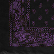 Load image into Gallery viewer, Black and purple paisley bandana partial pattern view