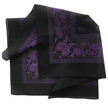 Load image into Gallery viewer, Purple and black bandana folded view