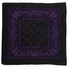 Load image into Gallery viewer, Black bandana with purple floral and paisley print pattern