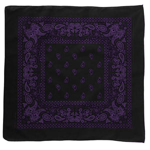 Black bandana with purple floral and paisley print pattern