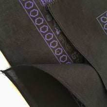 Load image into Gallery viewer, Close up of hemmed edge of black and purple bandana