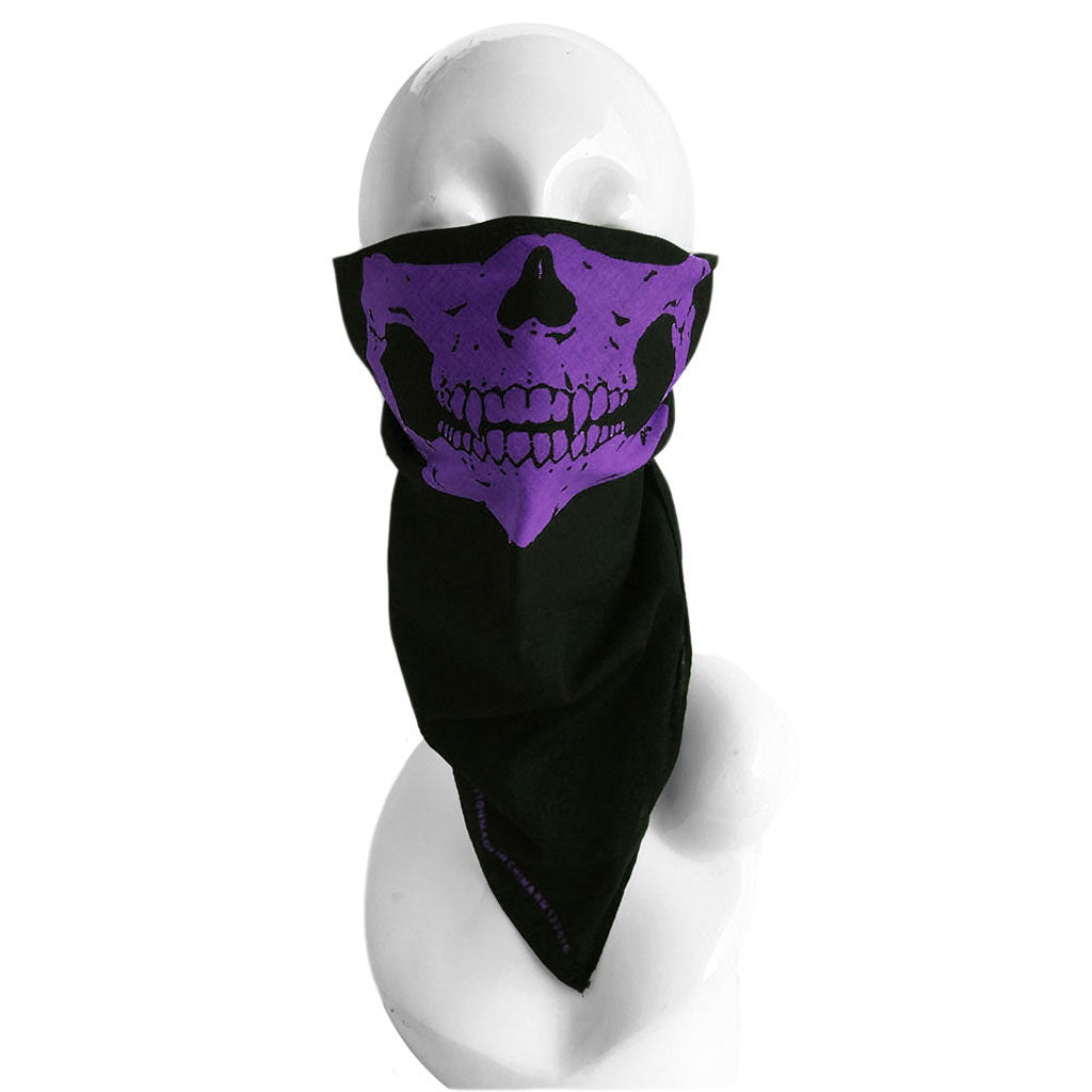 Black & Purple Half Skull Face Bandana