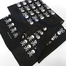 Load image into Gallery viewer, Skull & Crossbones Bandana with White Allover Print