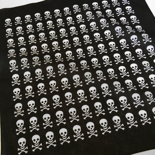 Skull & Crossbones Bandana with White Allover Print