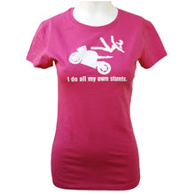 Load image into Gallery viewer, I Do All My Own Stunts Women's Fitted Motorcycle T-shirt