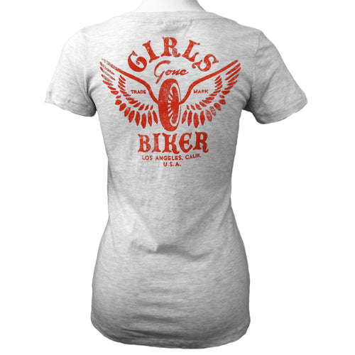 Girls Gone Biker® Winged Wheel Deep V-neck T-shirt