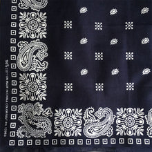 Load image into Gallery viewer, Navy & White Square Border Bandana