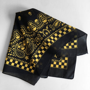 Black & Yellow Skull Paisley Bandana
