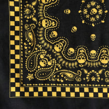 Load image into Gallery viewer, Black & Yellow Skull Paisley Bandana