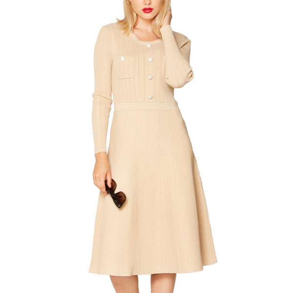 Tan Sweater Dress with Studded Buttons