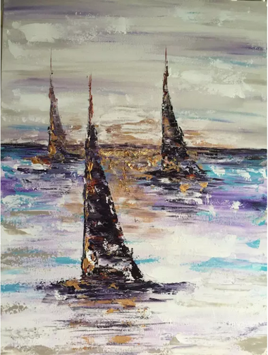 choppy and thick paint strokes are used to create 4 sailboats on water.