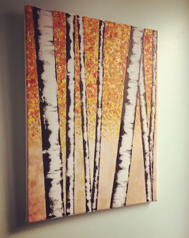 birch trees on a red and orange background