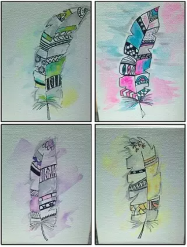 ink and watercolour are used to create these abstract feathers