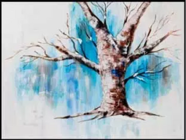 acrylic painting of tree - long and rough paint strokes are used to create texture.