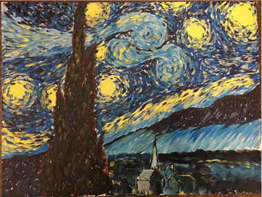 Artshine's version of the starry night painting. Inspired by Vincent vangogh, dashes, dots, and swirls come together in a postimpressionist style to create a landscape of a city under the stars.