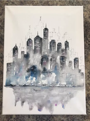 a watercolour painting of a dark and moody cityscape, watercolour.