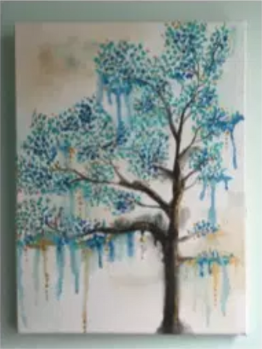 drip painting of a tree with blue stippled leaves.