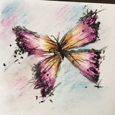 chalk pastel is used to create a beautiful butterfly