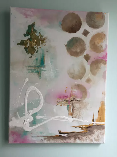 an abstract painting using gold leaf, different shapews and squirts of paint.