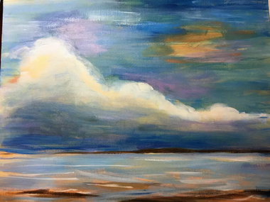 smooth brush strokes are used to create a soft and colourful painting of water and sky