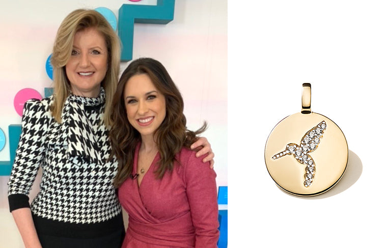 "Hallmark Channel's sweetheart, Lacey Chabert, wearing our CHARMBAR ""Never Give Up"" Hummingbird!"