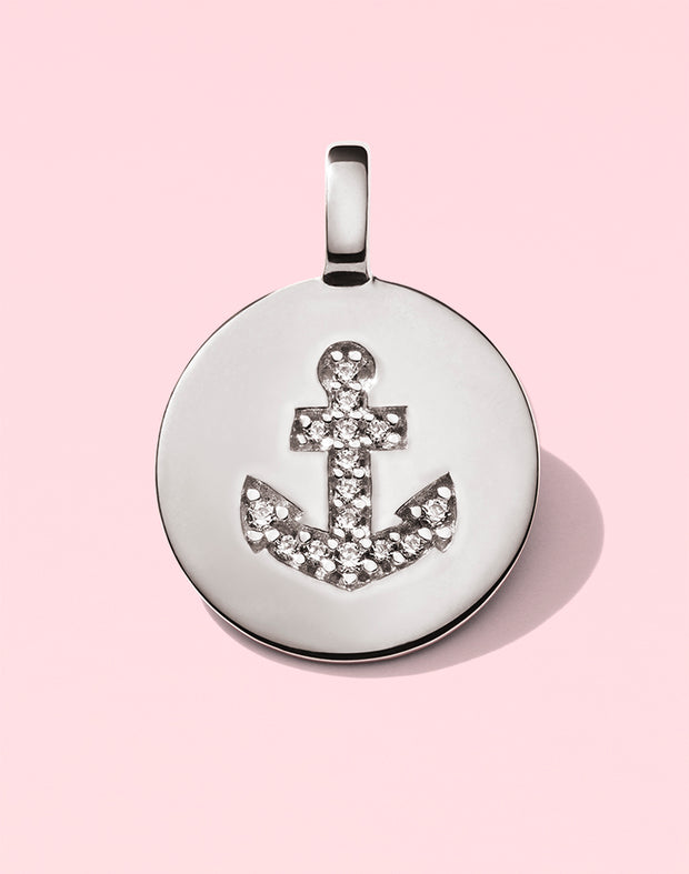 "CHARMBAR ""Be Strong"" Anchor Charm in Sterling Silver"