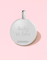 "CHARMBAR ""Lucky to Have"" Clover Charm in Sterling Silver"