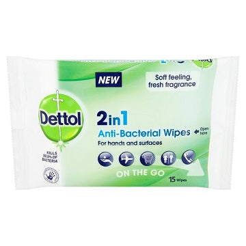 Dettol 2in1 15 Anti-Bacterial Wipes